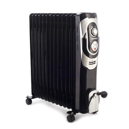 Маслен електрически радиатор Daewoo, 2500 W, 13 ребра, 5 канала за масло, 3 нива на мощност, Регулируем термостат, Защита от прегряване, Светлинен индикатор, Черен/Сив