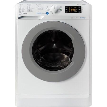 Пералня със сушилня Indesit BDE761483XWSEEN, 7 кг пране, 6 кг сушене, 1400 об/мин, Клас A, Инверторен мотор, Цифров дисплей, Бял