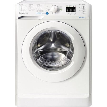 Пералня Slim Indesit BWSA61251WEEN, 6 кг, 1200 об/мин, Клас F, Push&Go, Motor Universal, LED дисплей, Бял